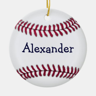 Personalized Baseball with Red Stitching Round Ceramic Decoration