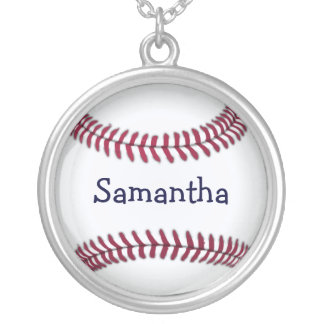 Personalized Baseball with Red Stitching Silver Plated Necklace