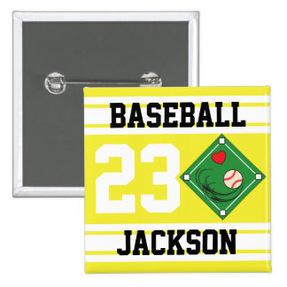 Personalized Baseball Yellow Design Pinback Button