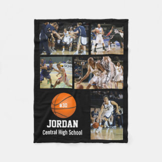 Personalized Basketball 5 Photo Collage Name Team# Fleece Blanket