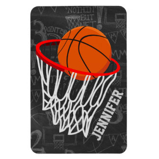 Personalized Basketball and hoop Vinyl Magnet