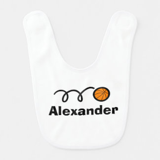 Personalized basketball baby bib with child's name