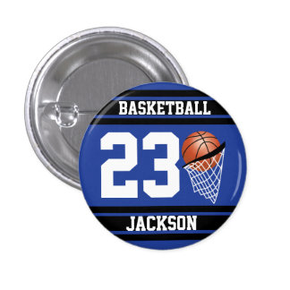 Personalized Basketball Dark Blue and Black 3 Cm Round Badge
