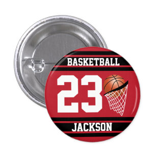 Personalized Basketball Dark Red and Black 3 Cm Round Badge