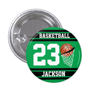 Personalized Basketball Green and Black 3 Cm Round Badge