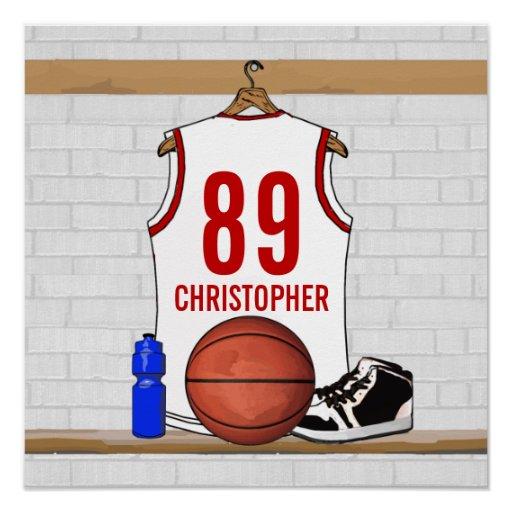 Personalized Basketball Jersey (white red) Poster