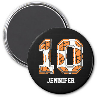 Personalized Basketball Number 10 7.5 Cm Round Magnet