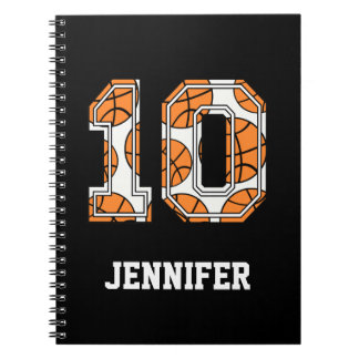 Personalized Basketball Number 10 Notebook