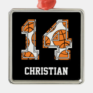 Personalized Basketball Number 14 Christmas Ornament
