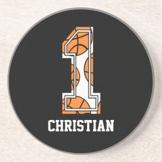 Personalized Basketball Number 1 Drink Coasters