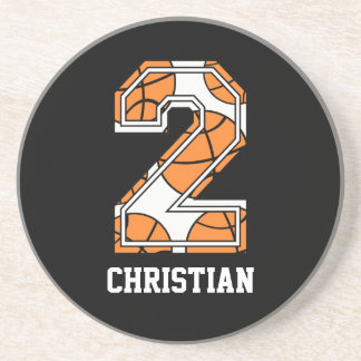 Personalized Basketball Number 2 Coasters