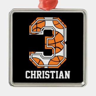 Personalized Basketball Number 3 Christmas Ornament