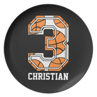 Personalized Basketball Number 3 Dinner Plate
