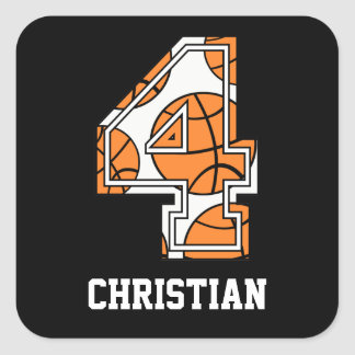 Personalized Basketball Number 4 Square Sticker