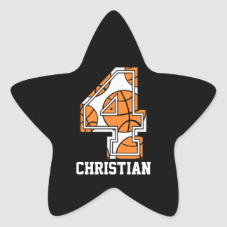 Personalized Basketball Number 4 Star Sticker