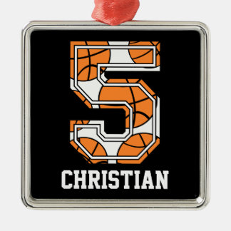 Personalized Basketball Number 5 Christmas Ornament