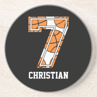 Personalized Basketball Number 7 Drink Coasters