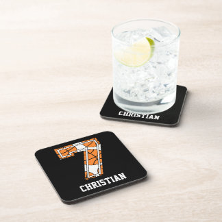 Personalized Basketball Number 7 Beverage Coasters