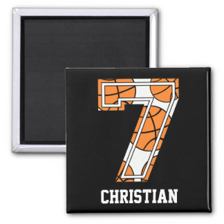Personalized Basketball Number 7 Square Magnet