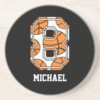 Personalized Basketball Number 8 Beverage Coaster