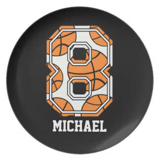 Personalized Basketball Number 8 Party Plates