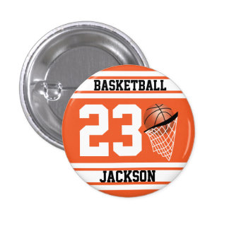 Personalized Basketball Orange and White 3 Cm Round Badge