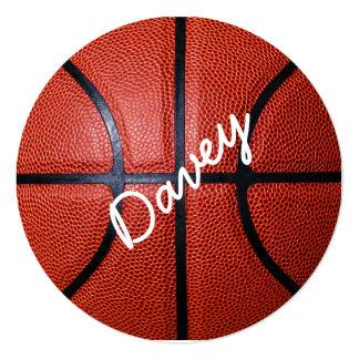 Personalized Basketball Photo Design 5.25x5.25 Square Paper Invitation Card