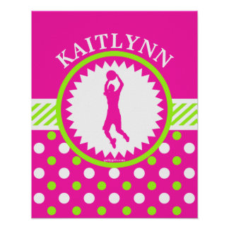 Personalized Basketball Pink - Green Polka-Dots Poster