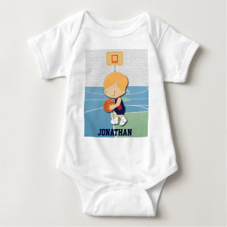 Personalized basketball player cartoon baby shirts