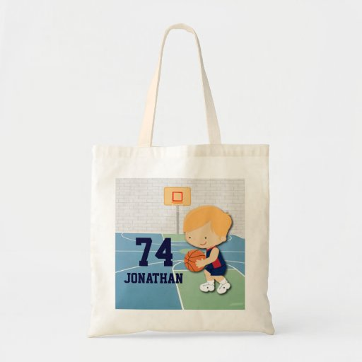 Personalized basketball player cartoon kids canvas bag