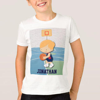 Personalized basketball player cartoon kids t-shir T-Shirt
