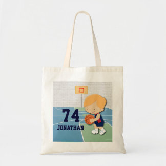 Personalized basketball player cartoon kids tote bag
