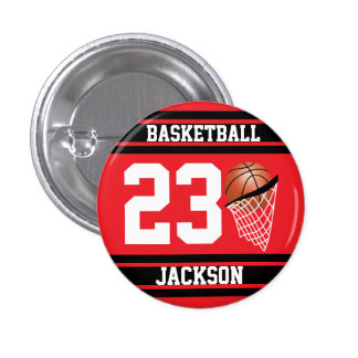 Personalized Basketball Red and Black 3 Cm Round Badge