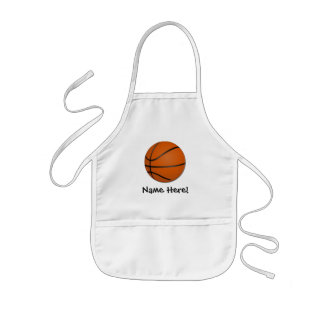 Personalized Basketball Wood Floor Kids Apron
