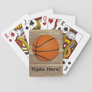 Personalized Basketball Wood Floor Playing Cards