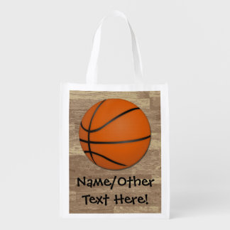 Personalized Basketball Wood Floor Reusable Grocery Bag