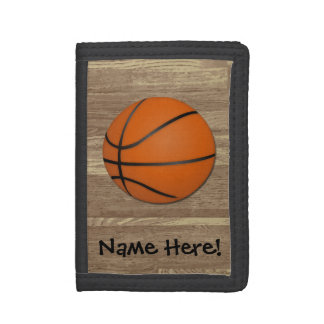 Personalized Basketball Wood Floor Trifold Wallets