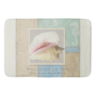 Personalized Bathroom Wooden Beach House Seashell Bath Mat