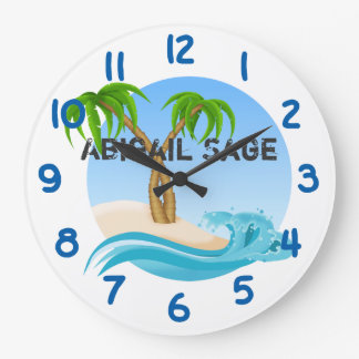 Personalized Beach and Palm Trees Tropical Large Clock