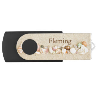 Personalized Beach Sand with Seashells USB Flash Drive