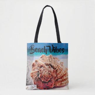 Personalized Beach Vibes Ocean Sea Shell Sand Tote Bag