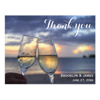 Personalized Beach Wedding Thank You Postcards