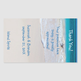 Personalized Beach Wedding Wine Label Template Rectangular Sticker