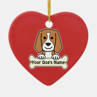 Personalized Beagle Double-Sided Heart Ceramic Christmas Ornament