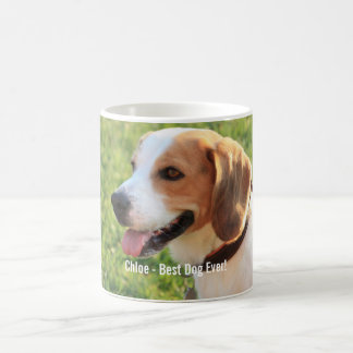 Personalized Beagle Dog Photo and Dog Name Coffee Mug
