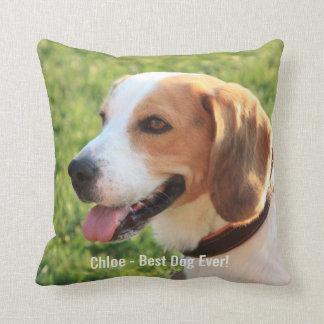 Personalized Beagle Dog Photo and Dog Name Cushion
