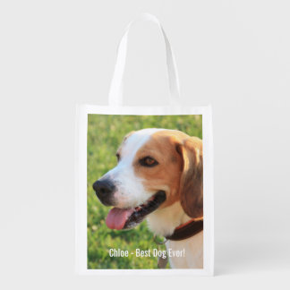 Personalized Beagle Dog Photo and Dog Name Reusable Grocery Bag