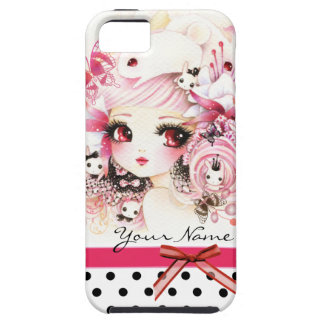 Personalized - Beautiful anime girl with bunnies iPhone 5 Case