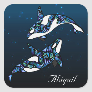 Personalized Beautiful Orca Whale Couple Square Sticker