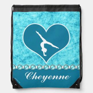 Personalized Beautiful Turquoise Gymnastics Drawstring Bag